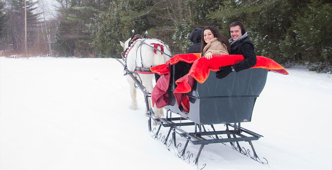 Romantic Horse Drawn Sleigh Ride in Stowe Vermont