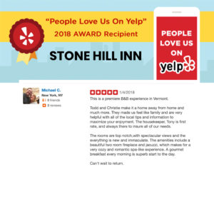 People Love Us on Yelp - Award Winning B&B