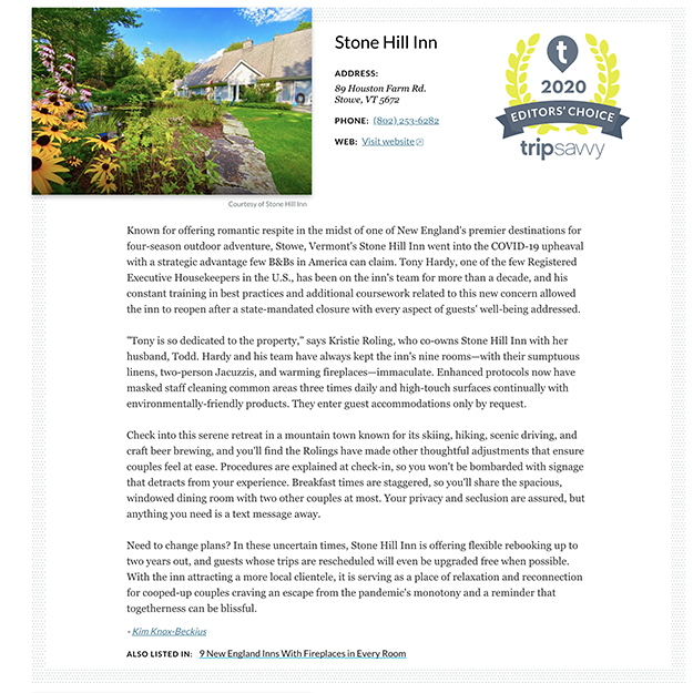 Description of Stone Hill Inn Award by TripSavvy