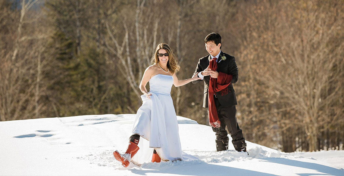 Winter wedding in Stowe Vermont